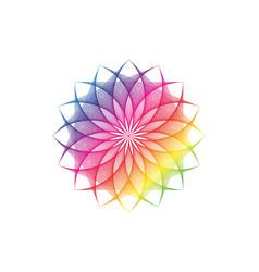 lotus flower spectrum mandala sacred geometry vector image