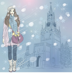 Lovely fashion girl in Christmas winter cityscape vector