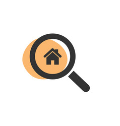 Magnifying glass looking for a house isolated web vector