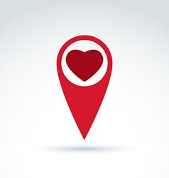 Map pointer with a loving heart icon Place vector