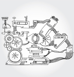 mechanism hand drawn vector image