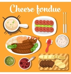 Melted cheese swiss or italian french fondue with vector