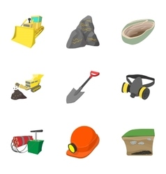 Mine icons set cartoon style vector image