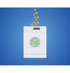 Money laundry with money gold coin in laundry vector