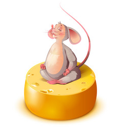mouse rat sits on big cheese head in lotus vector image