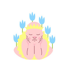 newborn baby dressed as princess sleeping in vector image