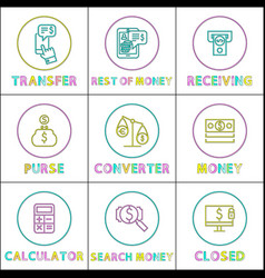operation with money online linear bright icons vector image