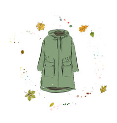 Parka jacket of green color outerwear on the vector