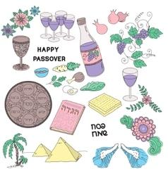 Passover symbols doodles set vector image