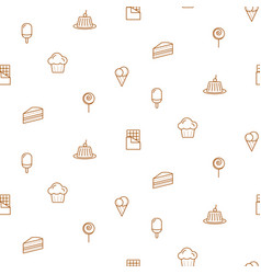 pastry line icons seamless pattern bakery vector image