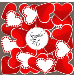 Pattern with big red hearts and many small hearts vector image