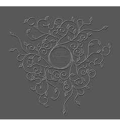 pattern with swirls and leaves with a round frame vector image