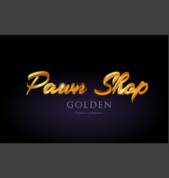 Pawn shop gold golden text word on purple vector