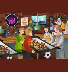 people playing foosball vector image