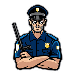 police officer posing in crossing arms vector image