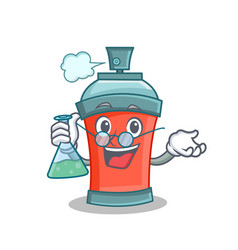 Professor aerosol spray can character cartoon vector