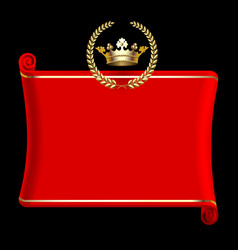 Red banner with gold crown and laurel wreath vector