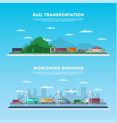 Road and railway transportation banner set vector