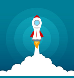 rocket launch icon on blue sky background vector image