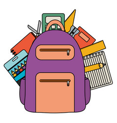 schoolbag with paper sheets and supplies vector image
