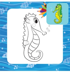 Sea horse coloring page vector