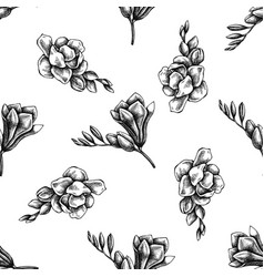 seamless pattern with black and white freesia vector image
