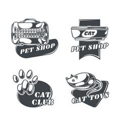 Set cats emblems labels badges logos vector