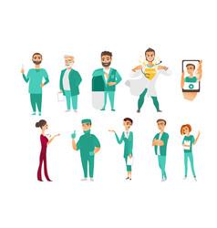Set doctors therapists nurses medical staff vector