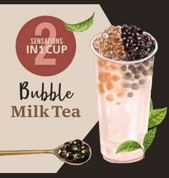 Set matcha and brown sugar bubble milk tea ad vector