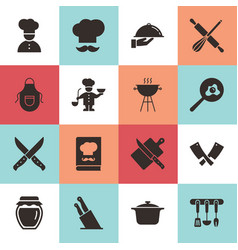 Set of clean icons featuring various kitchen vector