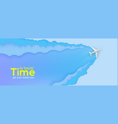 silver passenger plane flies through clouds vector image