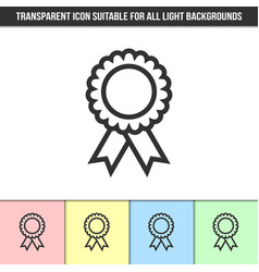 simple outline transparent rosette icon on vector image