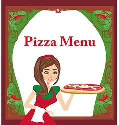 smiling waitress serving pizza menu card vector image