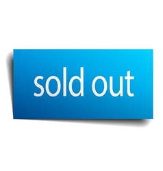 Sold out blue paper sign on white background vector