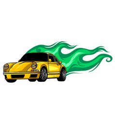 sports car emblem with fire flames textile prints vector image