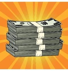 Stack of money dollar pop art retro vector