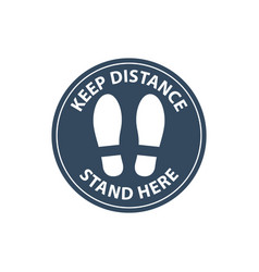 steps on floor in circle keep distance in line vector image