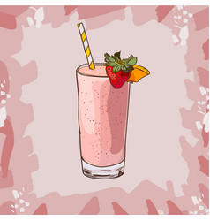 strawberry smoothie recipe menu element for cafe vector image
