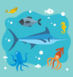 underwater life flat style colorful vector image