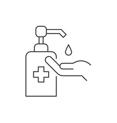 Use hand sanitizer line icon on white background vector