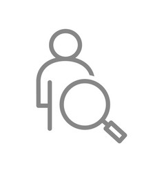 user profile profile with magnifying glass line vector image