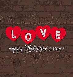 Valentine with heart on wall retro vector image