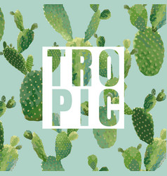 Vintage tropical summer cactus graphic design vector