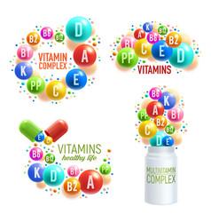 Vitamin pills and multivitamin complex capsules vector