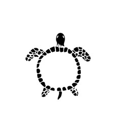 Water turtle hand drawn isolated on white vector