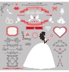 Wedding bridal shower decor set Bride invitation vector