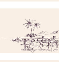 wharf drawing empty boats and palm trees on beach vector image