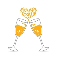 Wineglasses sparkling champagne for happy vector