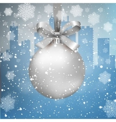 Winter city background with ball vector