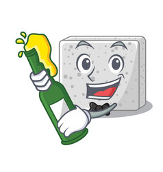 With beer fresh feta cheese isolated on maskot vector